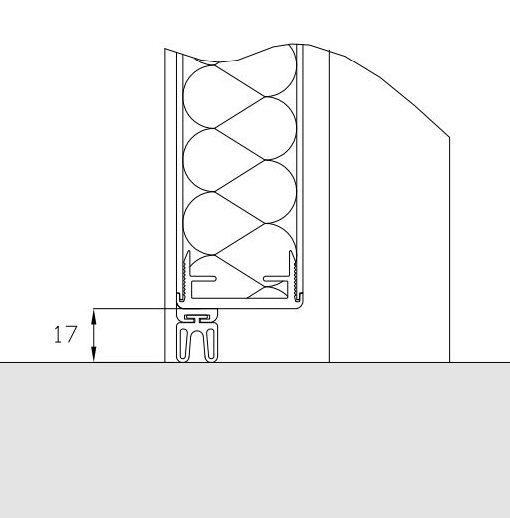 Slæbeliste til vådrumsdør - 17 mm