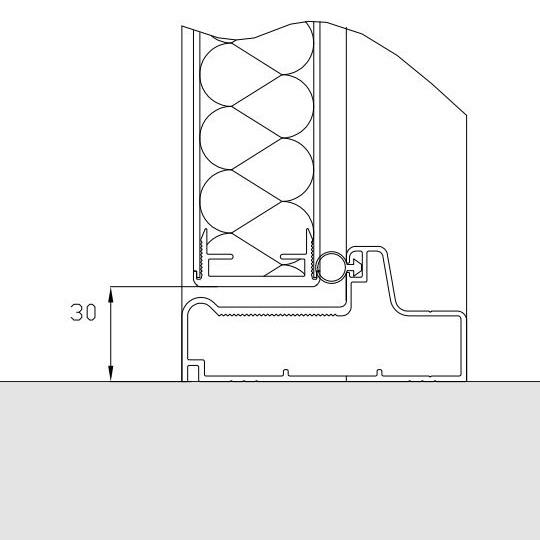 Aluminiums bundstykke til glasfiberdøre