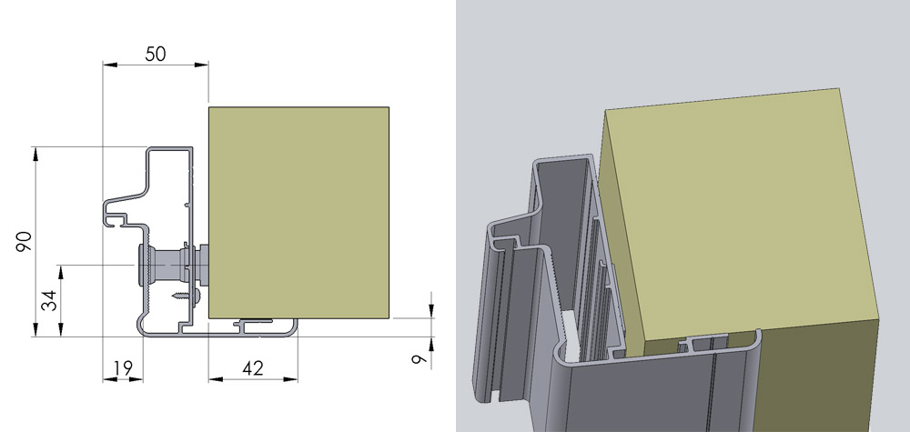 Justerbar aluminiumskarm til inderdør i glasfiber