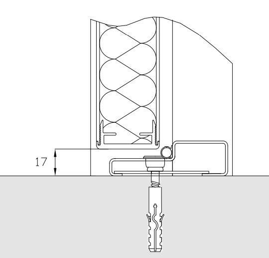 Bundstykke i rustfrit stål til vådrumsdør