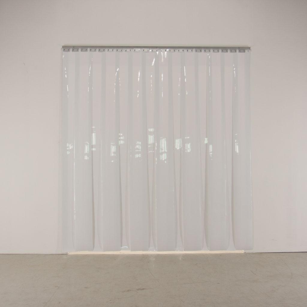 Hvide plastgardiner - strimmelport