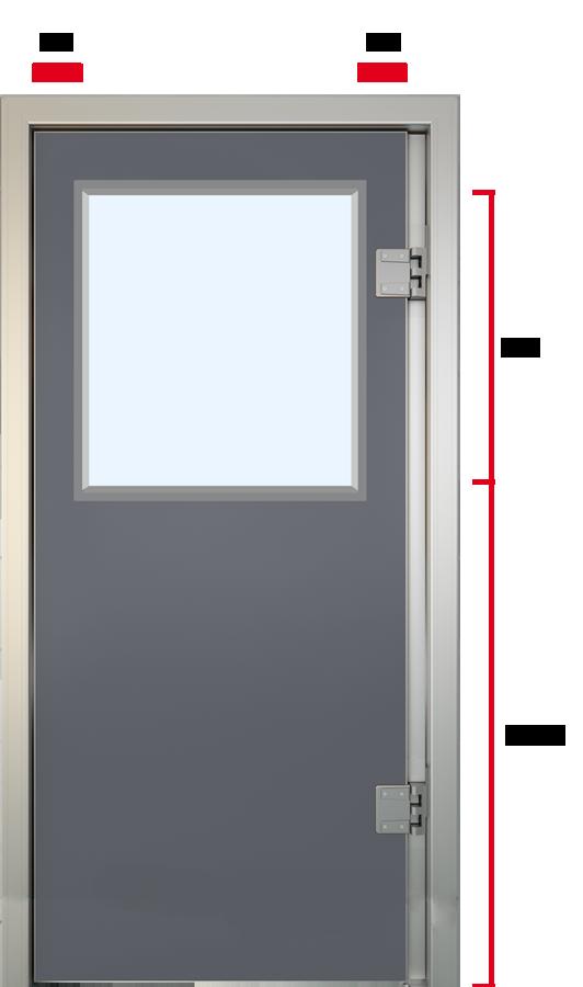 Glasfiber svingdør med stort vindue