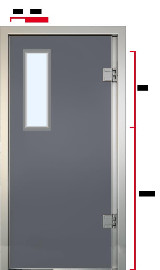 Glasfiber svingdør med 660 mm vindue