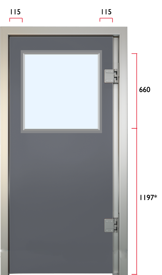 Glasfibersvingdør med vindue