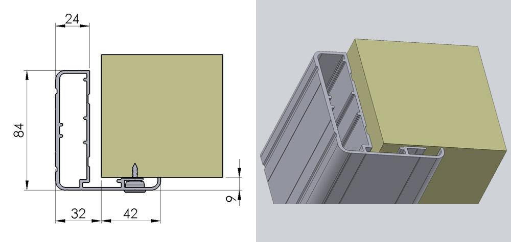 Aluminiumskarm med gerigt på en side