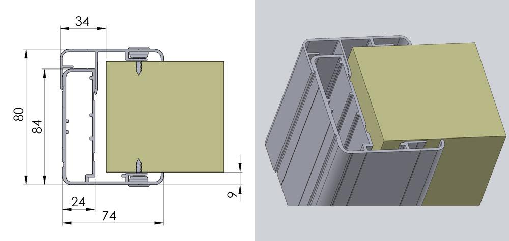 Svingdør med aluminiumskarm til kølerum