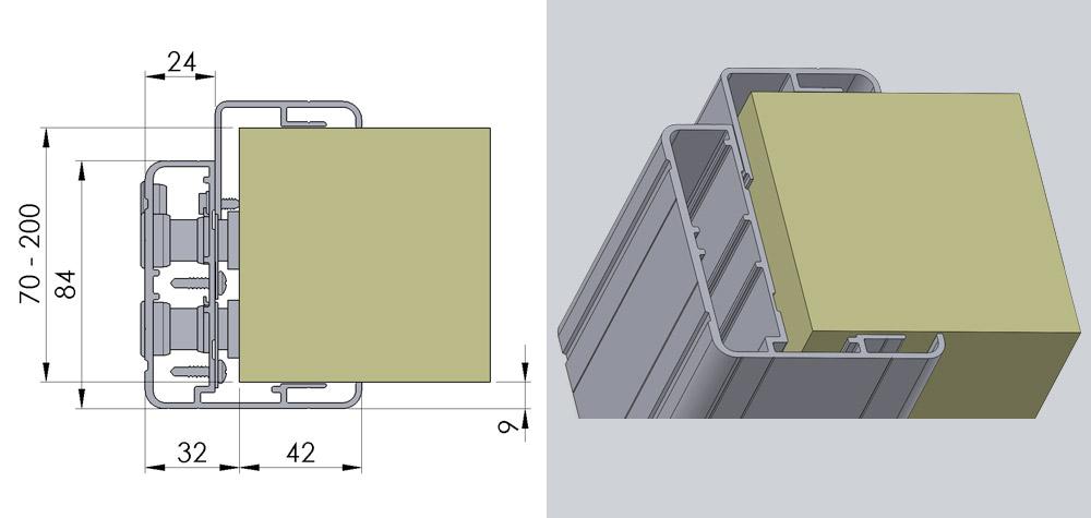 Svingdør med justerbar aluminiumskarm til kølerum