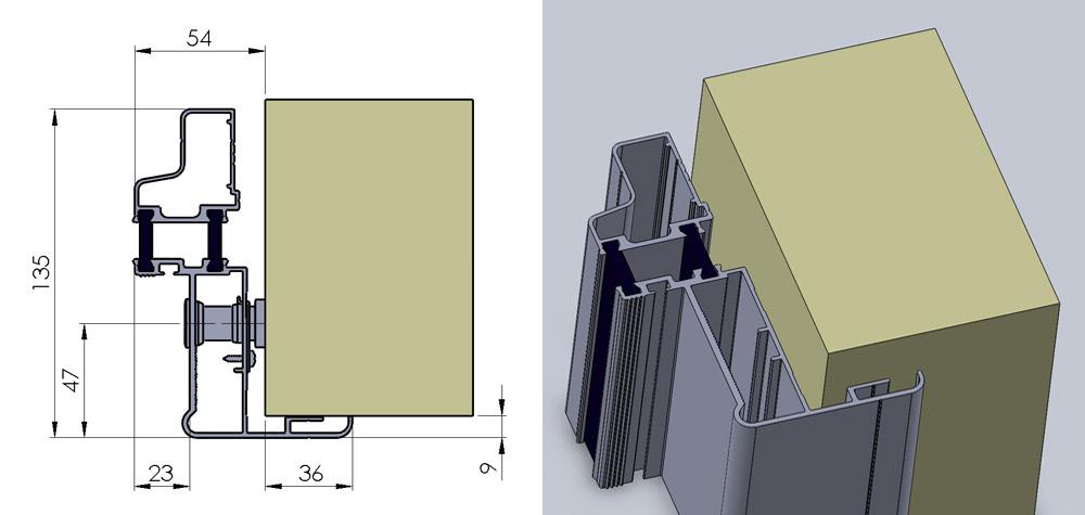 KD - Justerbar fugekarm gerigt på en side