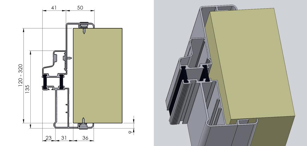 KD - Justerbar karm til kølerumspaneler