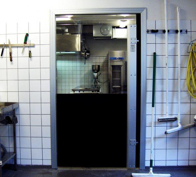 polycarbonat svingdøre til slagter, køkken og butik