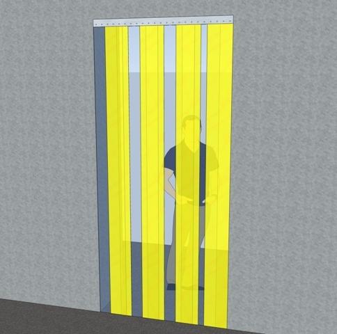 Bændelgardin 200x2 - gul - plaststrimler