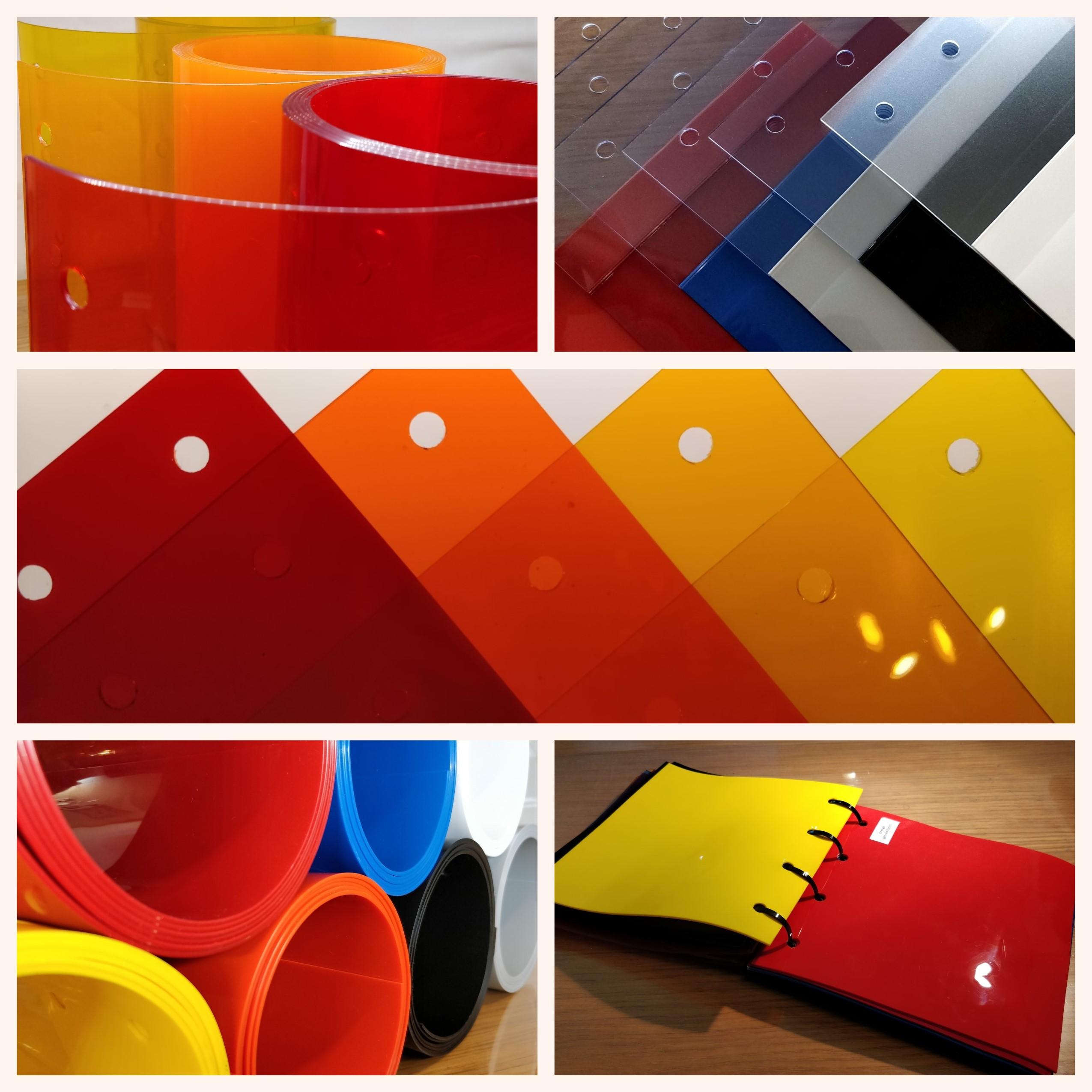 Farvet plastik fra InduDoor. orange gul rød