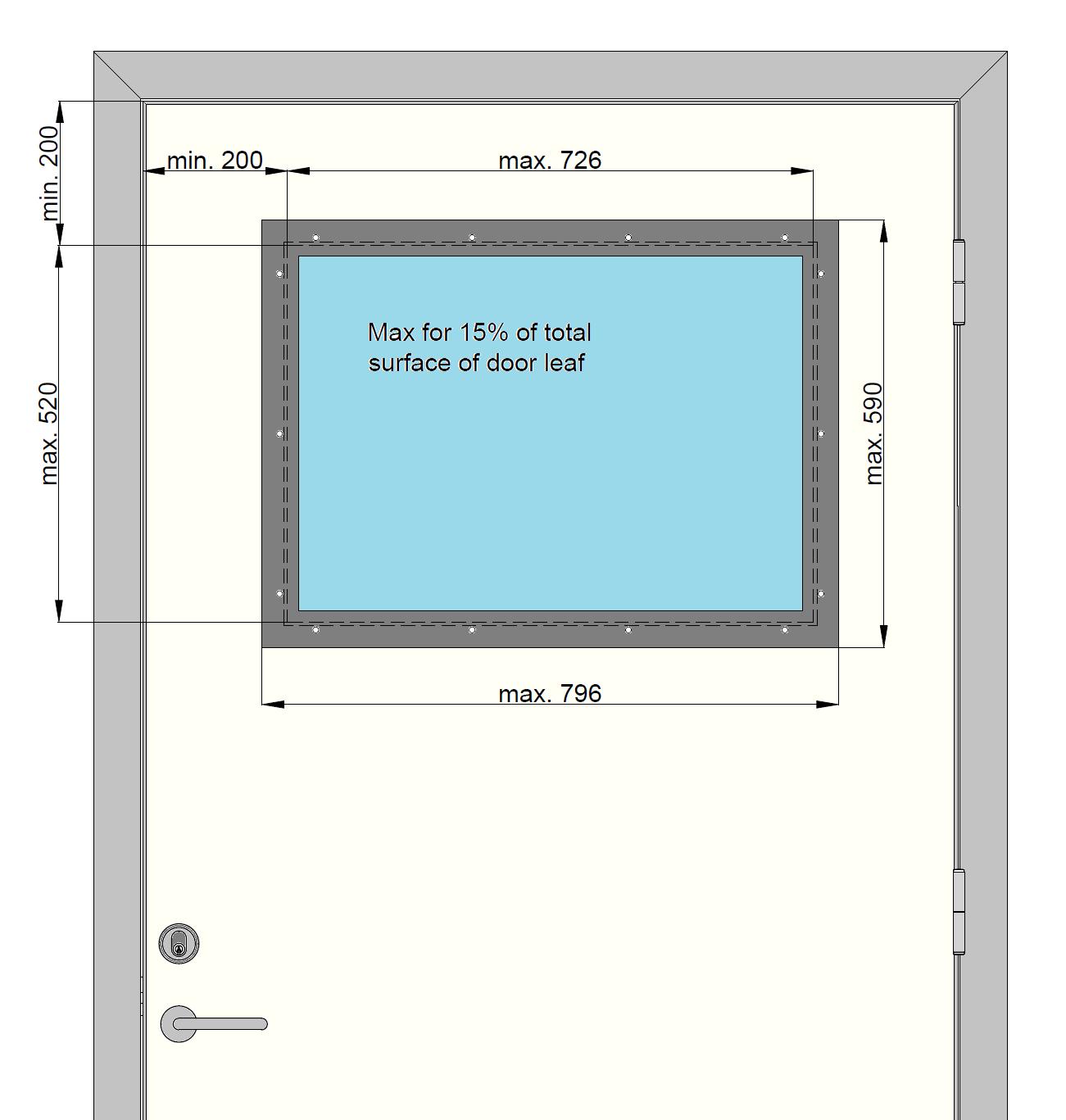 BD30 vindue til vådrumsdør