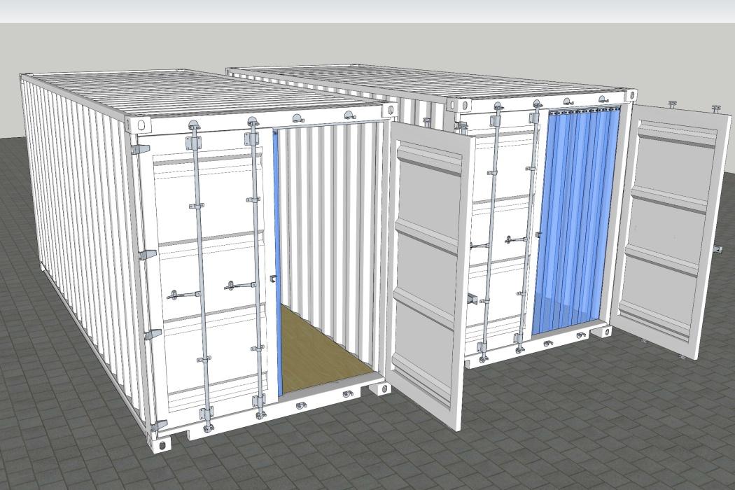 Stor sikkerhed i container med tryktanke, kemikalier og damp