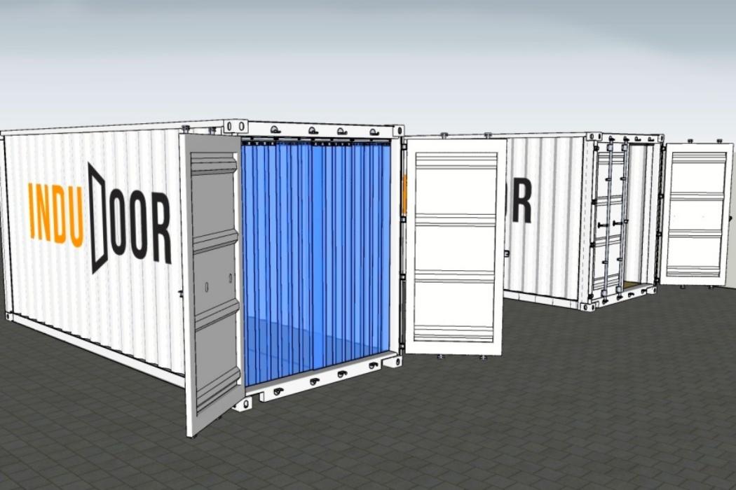 Bændelgarin og PVC gardin til Container